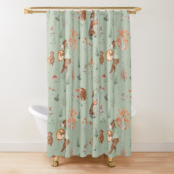 Forest band blue Shower Curtain
