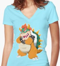 Bowser King Koopa Women's Fitted V-Neck T-Shirt