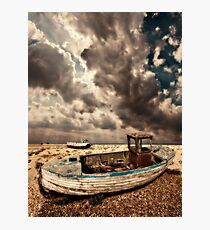 dreamy wrecked wooden fishing boats Photographic Print
