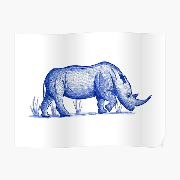 Save the Rhinos (Portion of proceeds go to the World Wildlife Fund) Poster