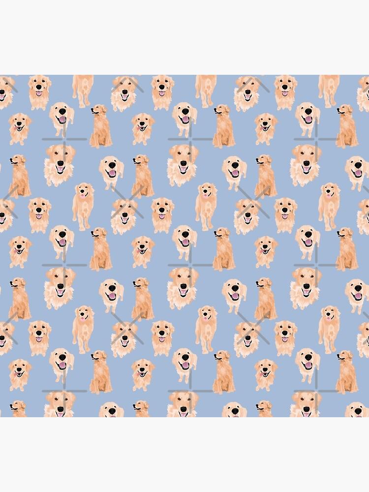 Golden Retrievers on Blue by ArtofACoonhound