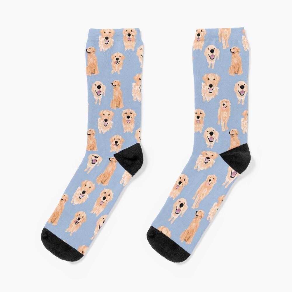 Golden Retrievers on Blue Socks