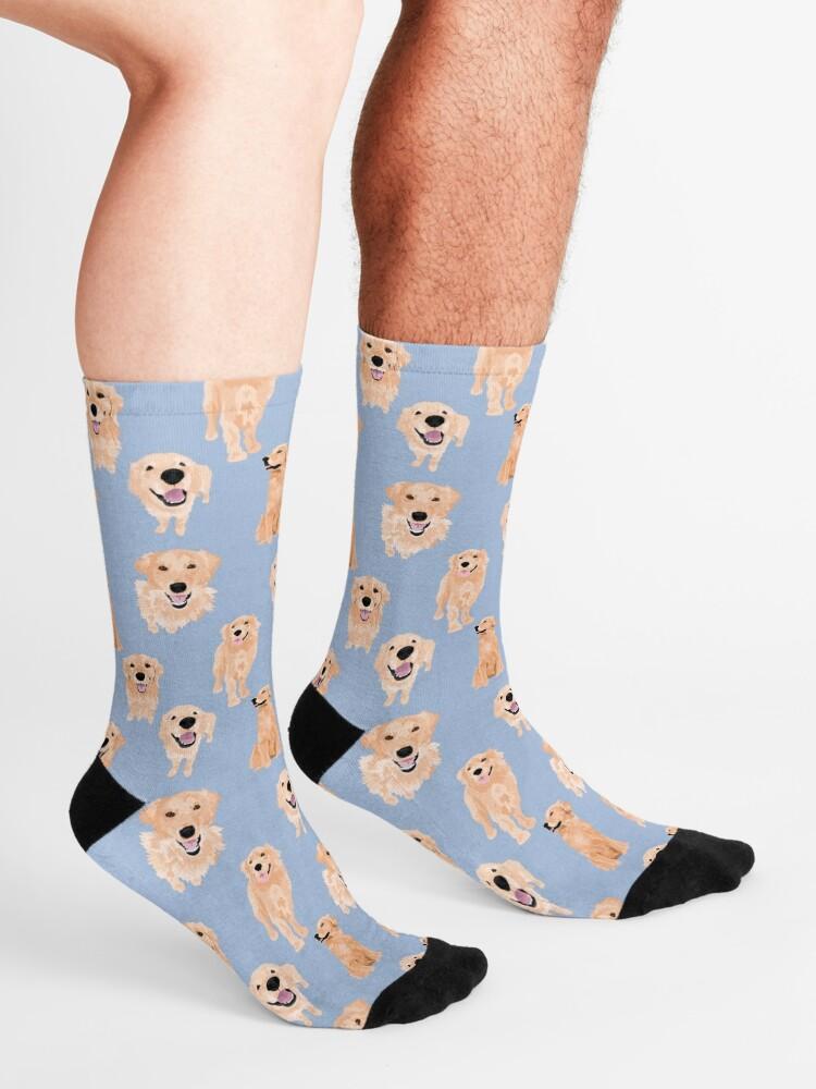 Alternate view of Golden Retrievers on Blue Socks