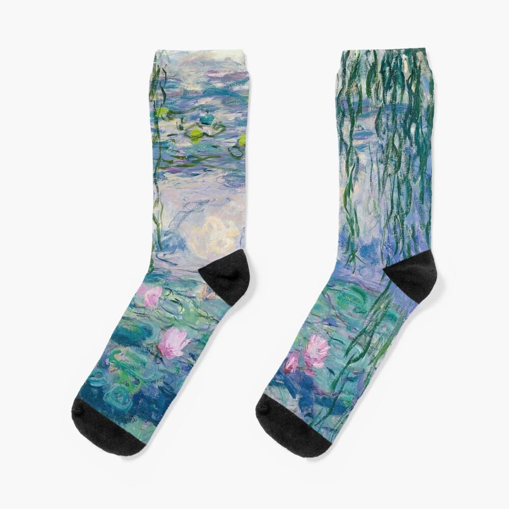 Water Lilies Claude Monet Fine Art Socks