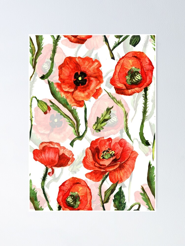Hand Drawn Watercolor Poppies Flowers Poster By Utart Redbubble