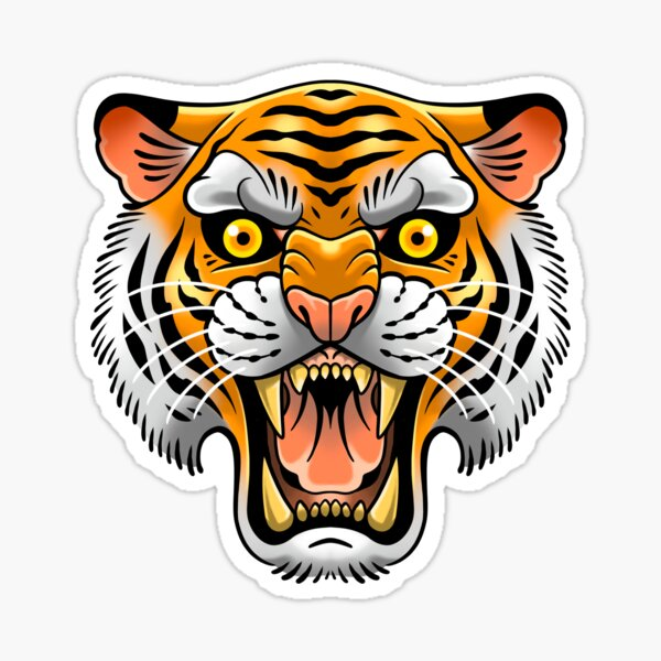 Traditional Tiger Tattoo Sticker
