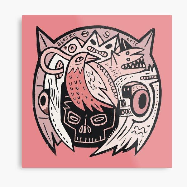Bubble Head - pink Metal Print