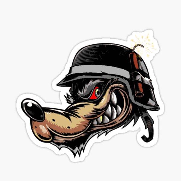 Grim-looking wolf with a biker helmet Sticker