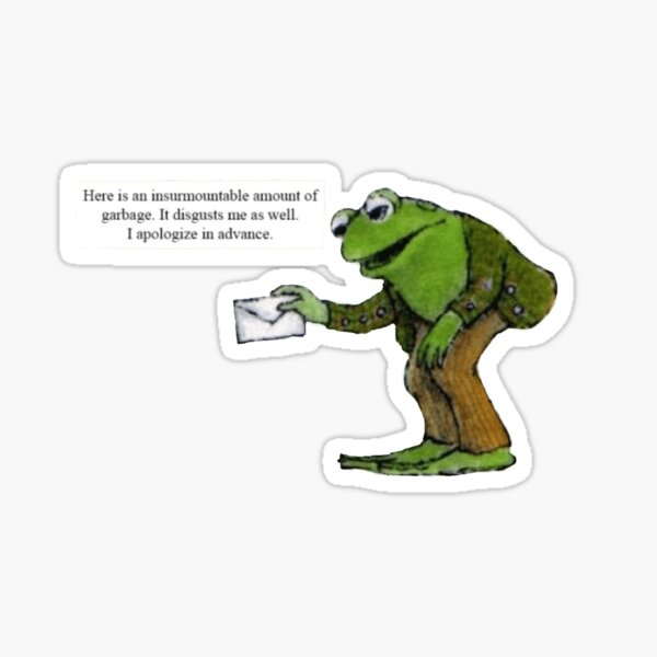 Frog and Toad frog's insurmountable amount of garbage Sticker