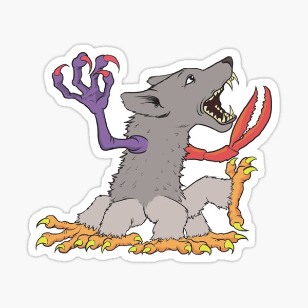 Screaming Multi-Clawed Wolf Thing Sticker