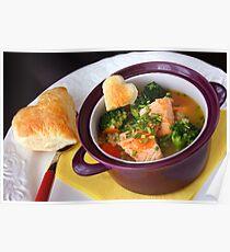 Salmon, Pearl Barley and Broccoli Soup Poster