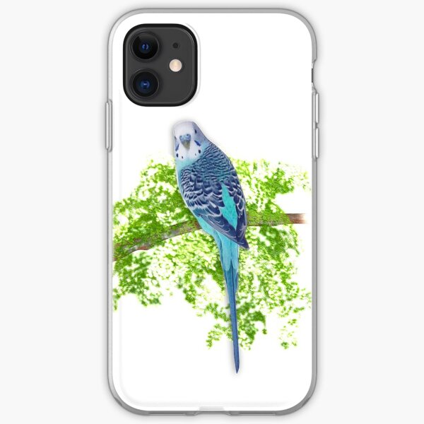 Blue Budgie on Green iPhone Soft Case
