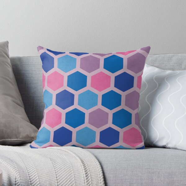 Pastel Mid Mod Honeycomb Pattern Throw Pillow