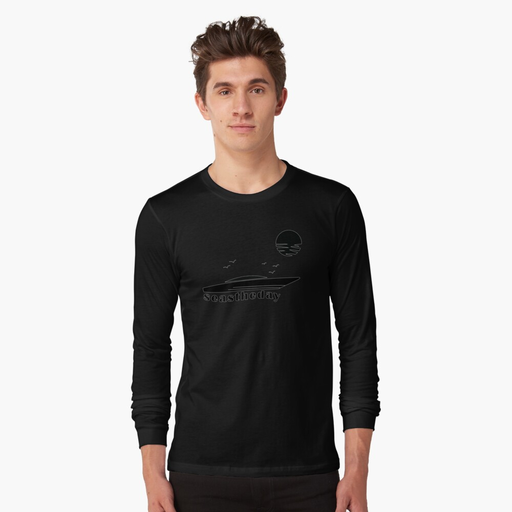 Seas the Day Maritime Speedboat Powerboat Skipper. Long Sleeve T-Shirt