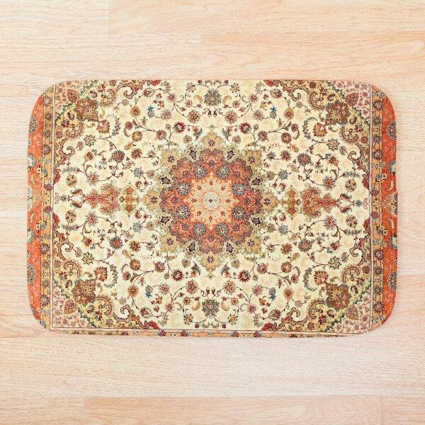 Orange Traditional Oriental Moroccan Artwork Carpet Style. Bath Mat