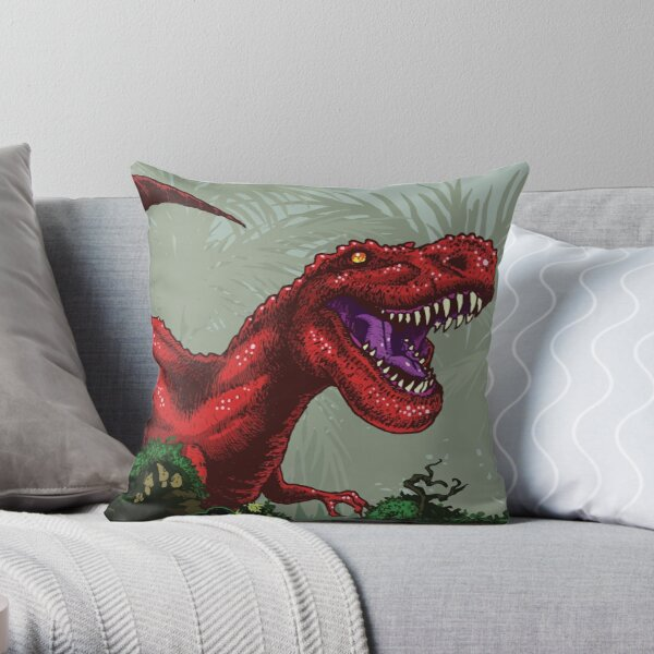 T-Rex Goes Hunting Throw Pillow