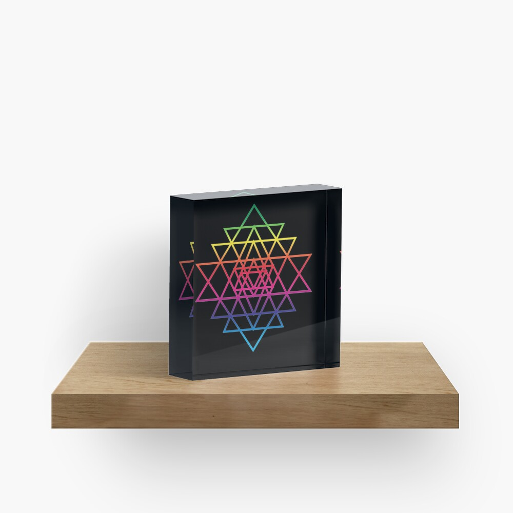 Sacred Geometry Geometric Mandala Flower Of Life Rainbow Sri Yantra Star Acrylic Block