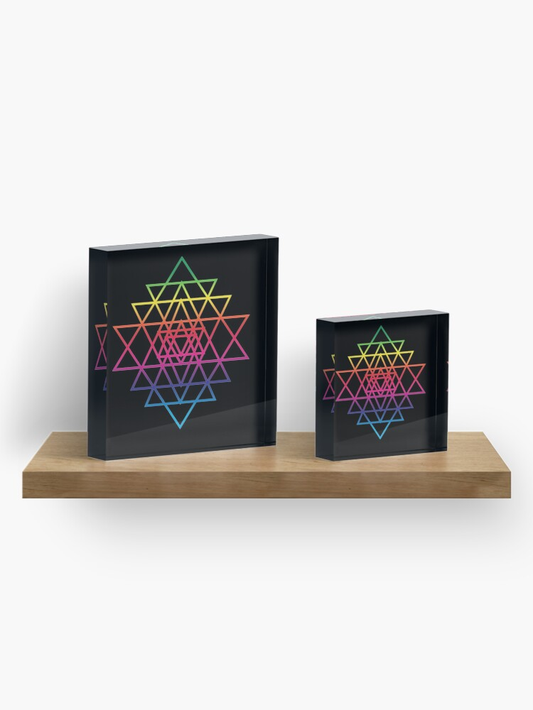 Alternate view of Sacred Geometry Geometric Mandala Flower Of Life Rainbow Sri Yantra Star Acrylic Block
