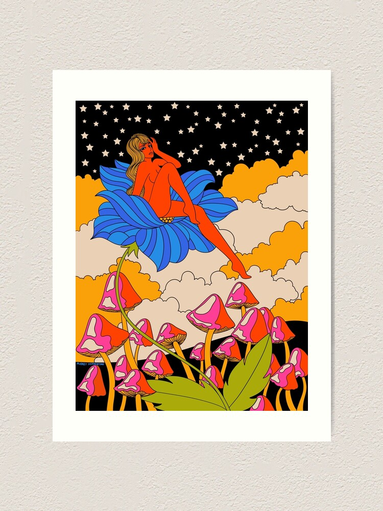 Alternate view of Lady in a flower Art Print