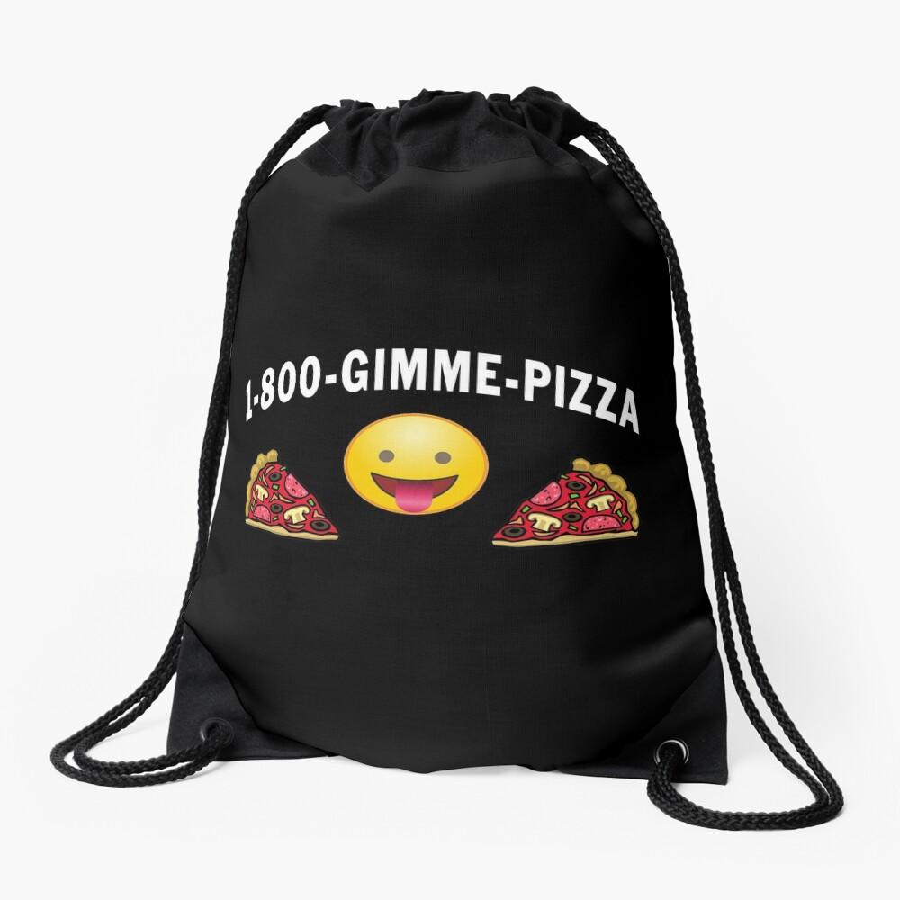 1 800 Gimme Pizza, Mozzarella Pepperoni Pizzeria. Drawstring Bag