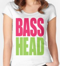 Bass Head (magenta/neon green)  Women's Fitted Scoop T-Shirt