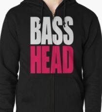 Bass Head (white/magenta)  Zipped Hoodie