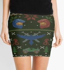 Ugly Red vs Blue Christmas Sweater Mini Skirt