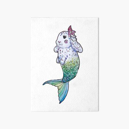 Tropical Mermaid Bunny Watercolor Art Board Print