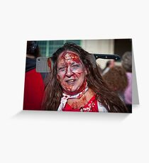 Zombie Walk Knife in Head Greeting Card