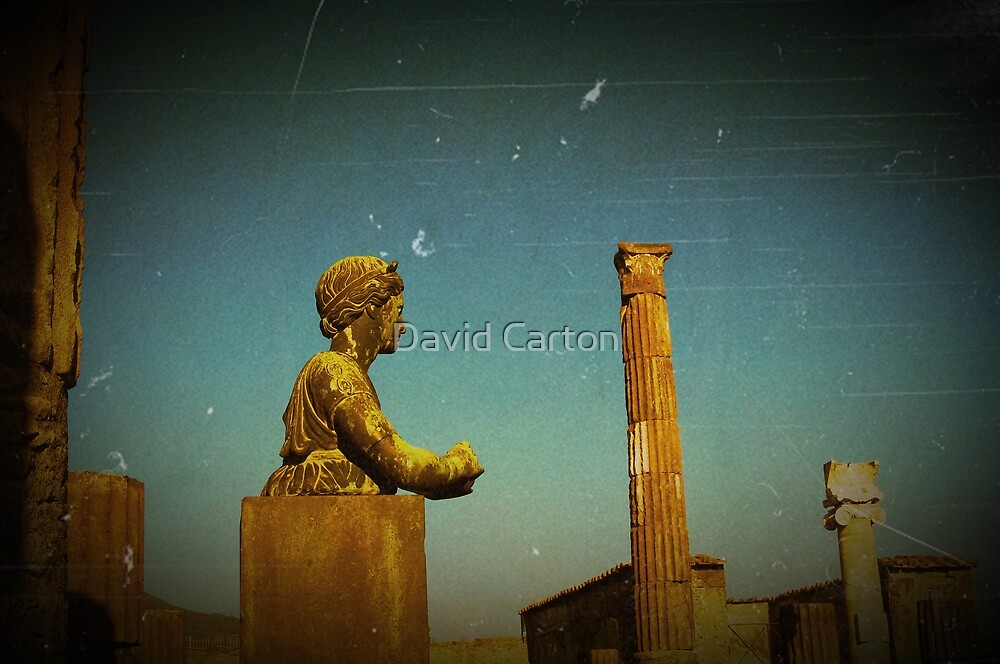 Statue in the ruins of Pompeii, Italy by David Carton