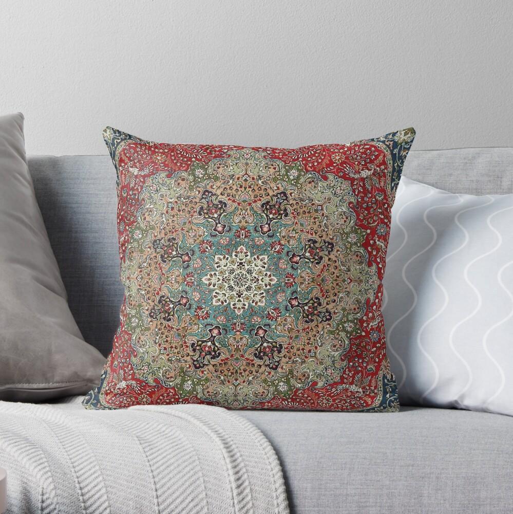 Vintage Antique Persian Carpet Print Throw Pillow