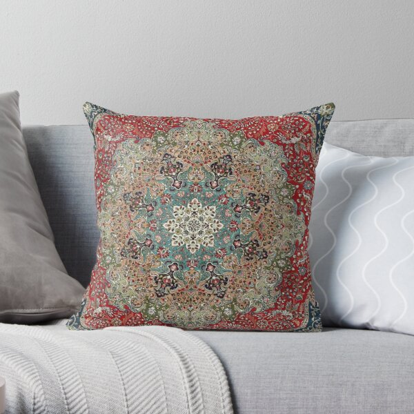 Vintage Antique Persian Carpet Print Throw Pillow