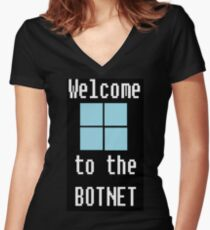 Welcome to The BotNet - black Women's Fitted V-Neck T-Shirt