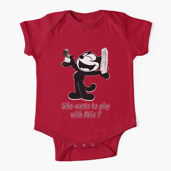 Félix the cat likes to play Short Sleeve Baby One-Piece