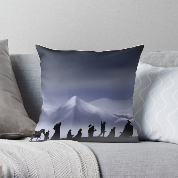 Fellowship of the Ring (with background) Throw Pillow