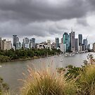 Brisbane from Kangaroo Point Cliffs by Keith G. Hawley