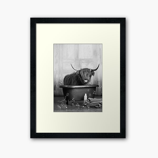 Highland Cow in the Bathtub Framed Art Print