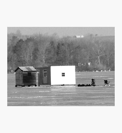 Ice Fishing On Rice Lake Photographic Print
