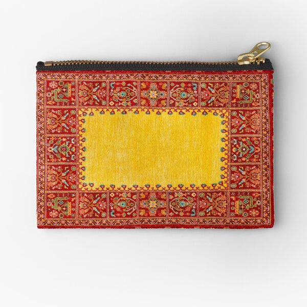 yellow Persian Carpet - Persian Vintage Antique Carpet Nature Fine Art Zipper Pouch