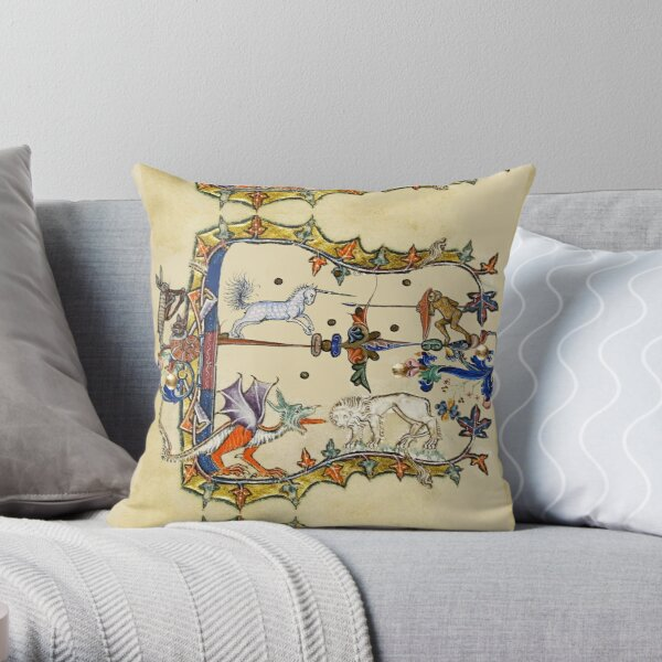 WEIRD MEDIEVAL BESTIARY ,UNICORN FIGHTING MONKEY ,DRAGON AND LION Throw Pillow