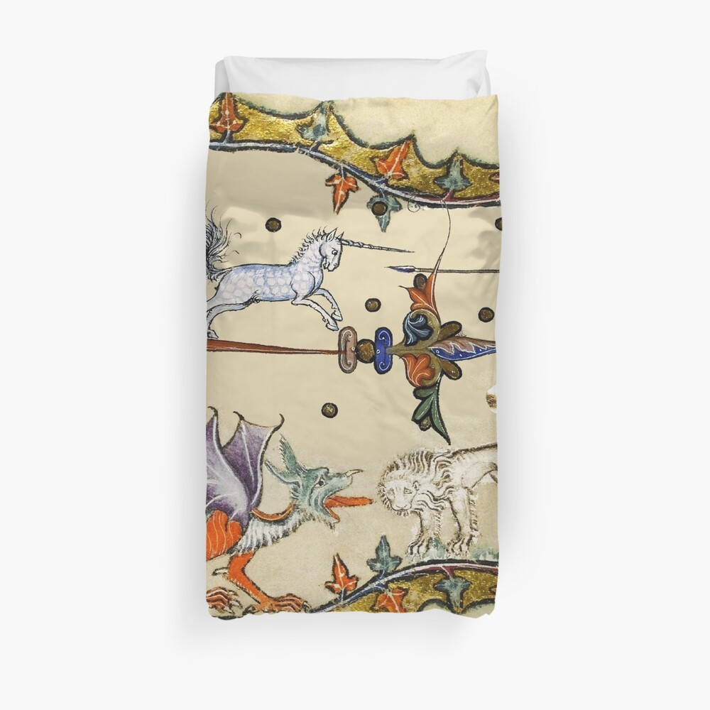 WEIRD MEDIEVAL BESTIARY ,UNICORN FIGHTING MONKEY ,DRAGON AND LION Duvet Cover