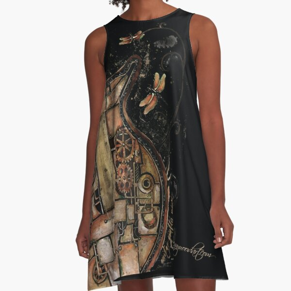 Steampunk guitar (black background) A-Line Dress