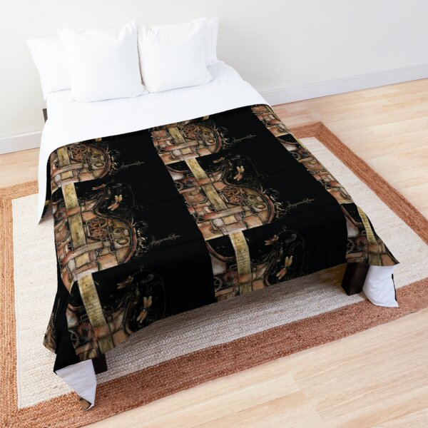 Steampunk guitar (black background) Comforter