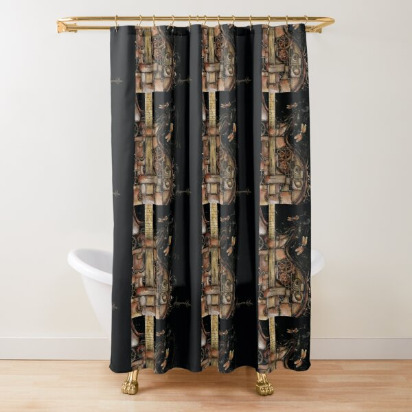 Steampunk guitar (black background) Shower Curtain