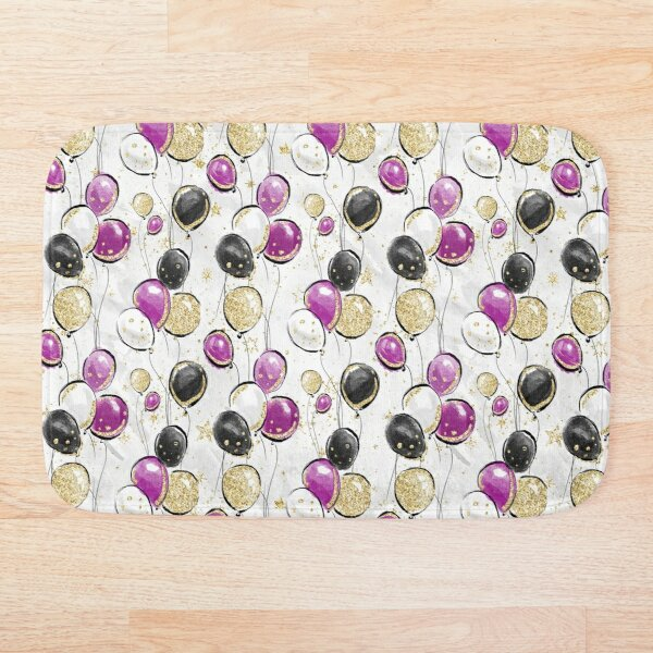 Gold, Black, and Purple Balloons Bath Mat