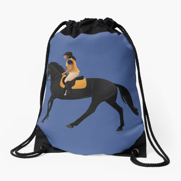 Zoe and Raven from Free Rein - Equine Rampaige Drawstring Bag