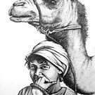 Boy With Camel Drawing by Roger Hodkinson