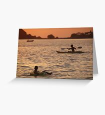Kayak and Inflatable Ring at Sunset Palolem Greeting Card
