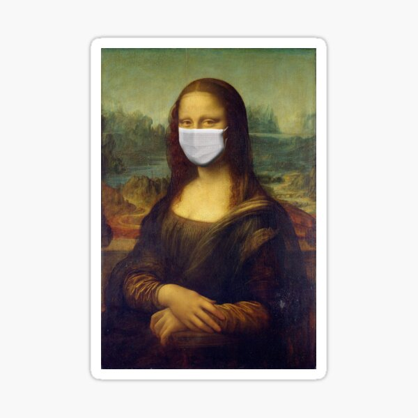 Mona Lisa Wearing a Mask Virus Sticker