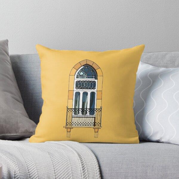 Digital Watercolor Art: Traditional Lebanese Window  Throw Pillow